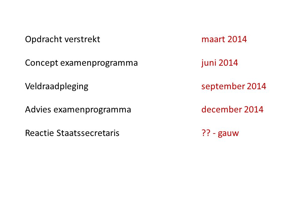 Opdracht verstrektmaart 2014 Concept examenprogrammajuni 2014 Veldraadplegingseptember 2014 Advies examenprogrammadecember 2014 Reactie Staatssecretaris?.