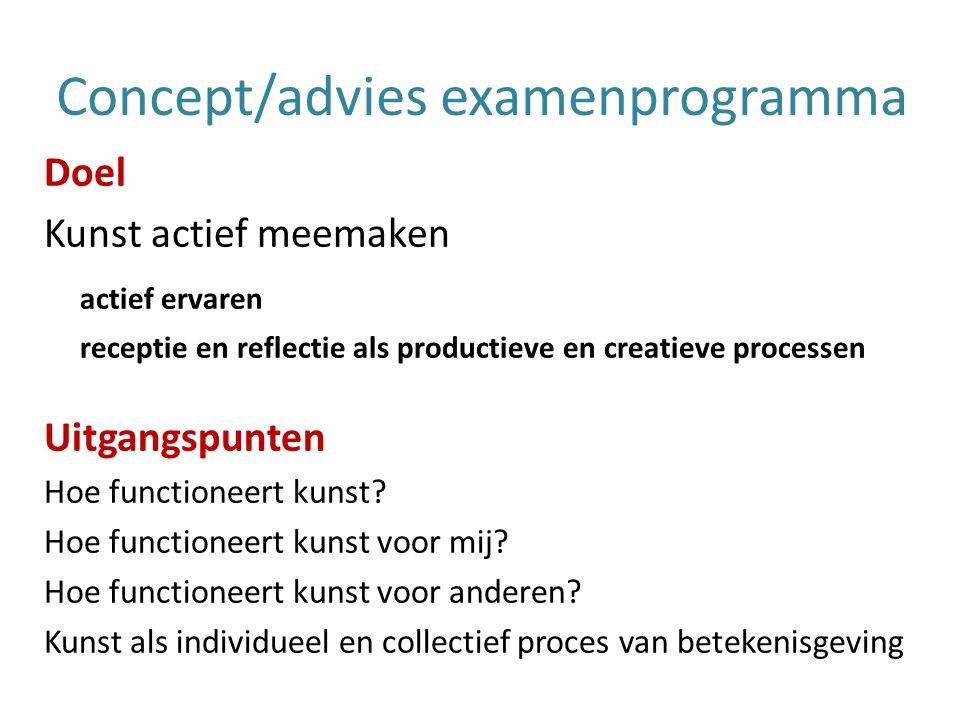 Concept/advies examenprogramma Doel Kunst actief meemaken actief ervaren receptie en reflectie als productieve en creatieve processen Uitgangspunten Hoe functioneert kunst.