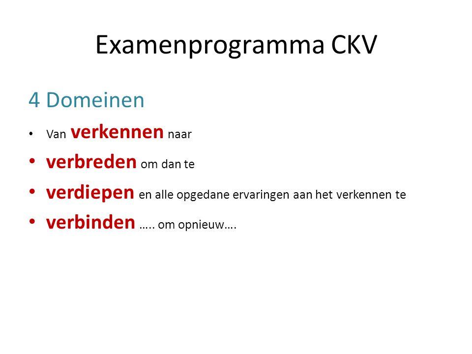 Examenprogramma CKV 4 Domeinen Van verkennen naar verbreden om dan te verdiepen en alle opgedane ervaringen aan het verkennen te verbinden …..