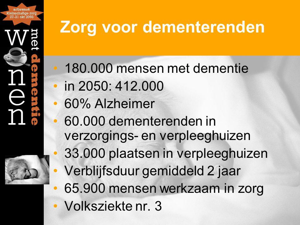 Zorg voor dementerenden 180.000 mensen met dementie in 2050: 412.000 60% Alzheimer 60.000 dementerenden in verzorgings- en verpleeghuizen 33.000 plaatsen in verpleeghuizen Verblijfsduur gemiddeld 2 jaar 65.900 mensen werkzaam in zorg Volksziekte nr.