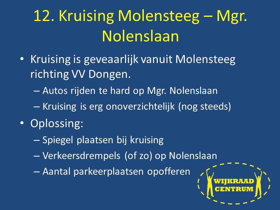 Kruising is geveaarlijk vanuit Molensteeg richting VV Dongen.