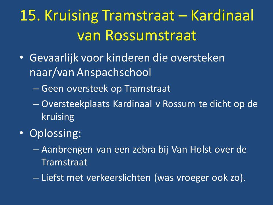 Gevaarlijk voor kinderen die oversteken naar/van Anspachschool – Geen oversteek op Tramstraat – Oversteekplaats Kardinaal v Rossum te dicht op de kruising Oplossing: – Aanbrengen van een zebra bij Van Holst over de Tramstraat – Liefst met verkeerslichten (was vroeger ook zo).