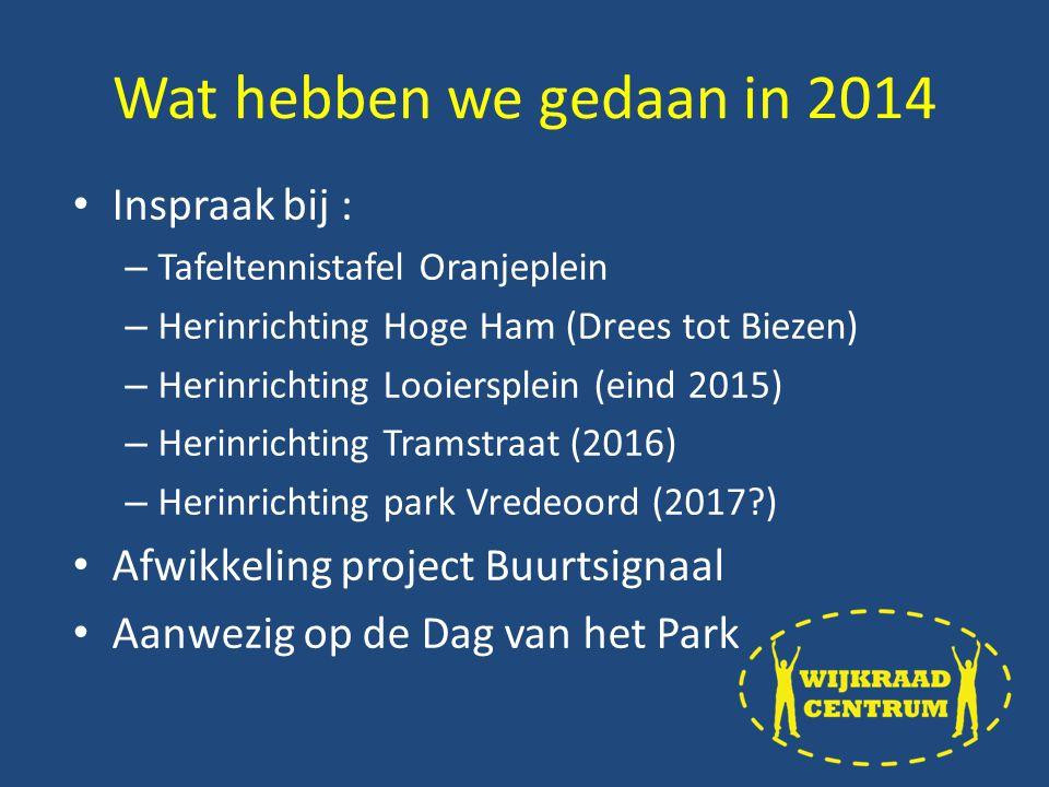 Inspraak bij : – Tafeltennistafel Oranjeplein – Herinrichting Hoge Ham (Drees tot Biezen) – Herinrichting Looiersplein (eind 2015) – Herinrichting Tramstraat (2016) – Herinrichting park Vredeoord (2017 ) Afwikkeling project Buurtsignaal Aanwezig op de Dag van het Park Wat hebben we gedaan in 2014