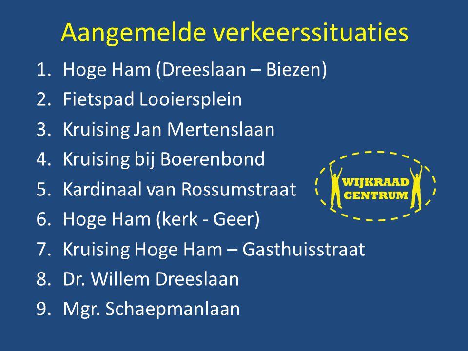 1.Hoge Ham (Dreeslaan – Biezen) 2.Fietspad Looiersplein 3.Kruising Jan Mertenslaan 4.Kruising bij Boerenbond 5.Kardinaal van Rossumstraat 6.Hoge Ham (kerk - Geer) 7.Kruising Hoge Ham – Gasthuisstraat 8.Dr.