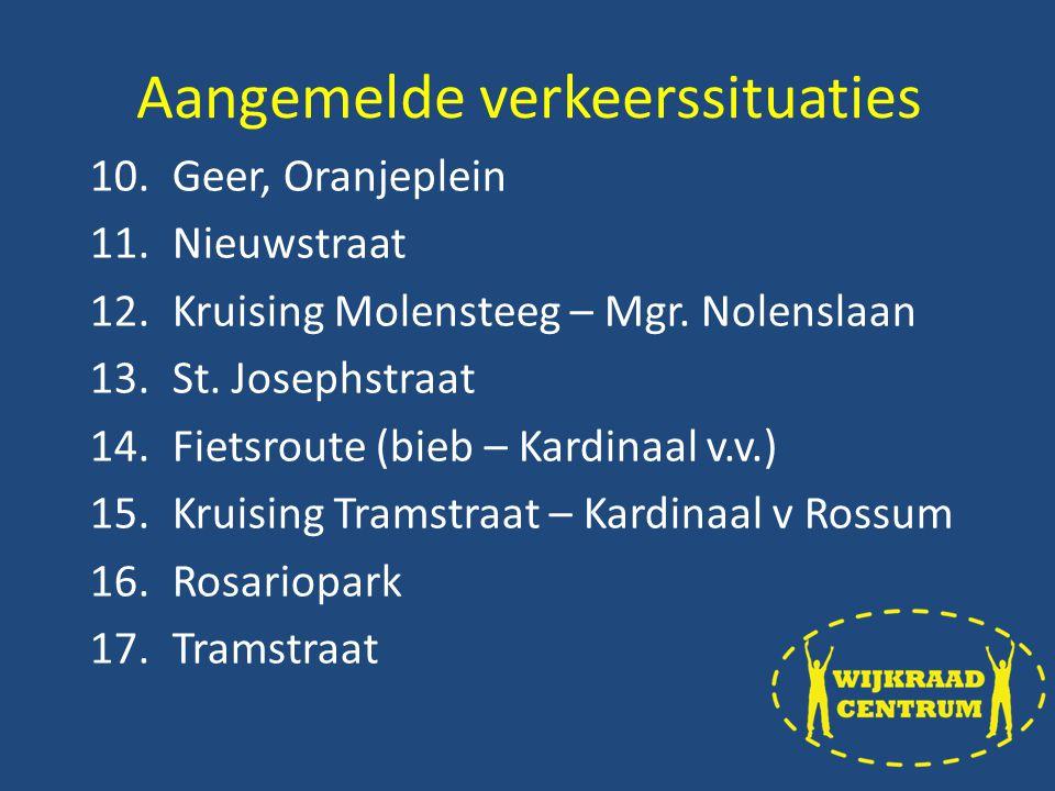 10.Geer, Oranjeplein 11.Nieuwstraat 12.Kruising Molensteeg – Mgr.