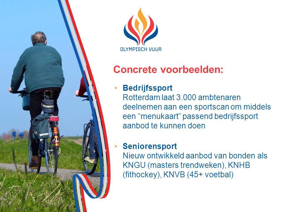 Concrete voorbeelden: Bedrijfssport Rotterdam laat 3.000 ambtenaren deelnemen aan een sportscan om middels een menukaart passend bedrijfssport aanbod te kunnen doen Seniorensport Nieuw ontwikkeld aanbod van bonden als KNGU (masters trendweken), KNHB (fithockey), KNVB (45+ voetbal)