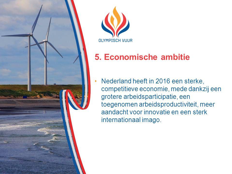 5. Economische ambitie Nederland heeft in 2016 een sterke, competitieve economie, mede dankzij een grotere arbeidsparticipatie, een toegenomen arbeids