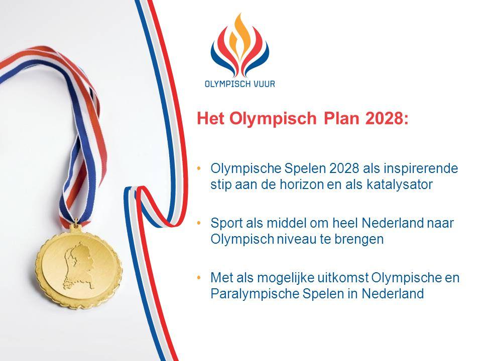 Het Olympisch Plan 2028: Olympische Spelen 2028 als inspirerende stip aan de horizon en als katalysator Sport als middel om heel Nederland naar Olympisch niveau te brengen Met als mogelijke uitkomst Olympische en Paralympische Spelen in Nederland