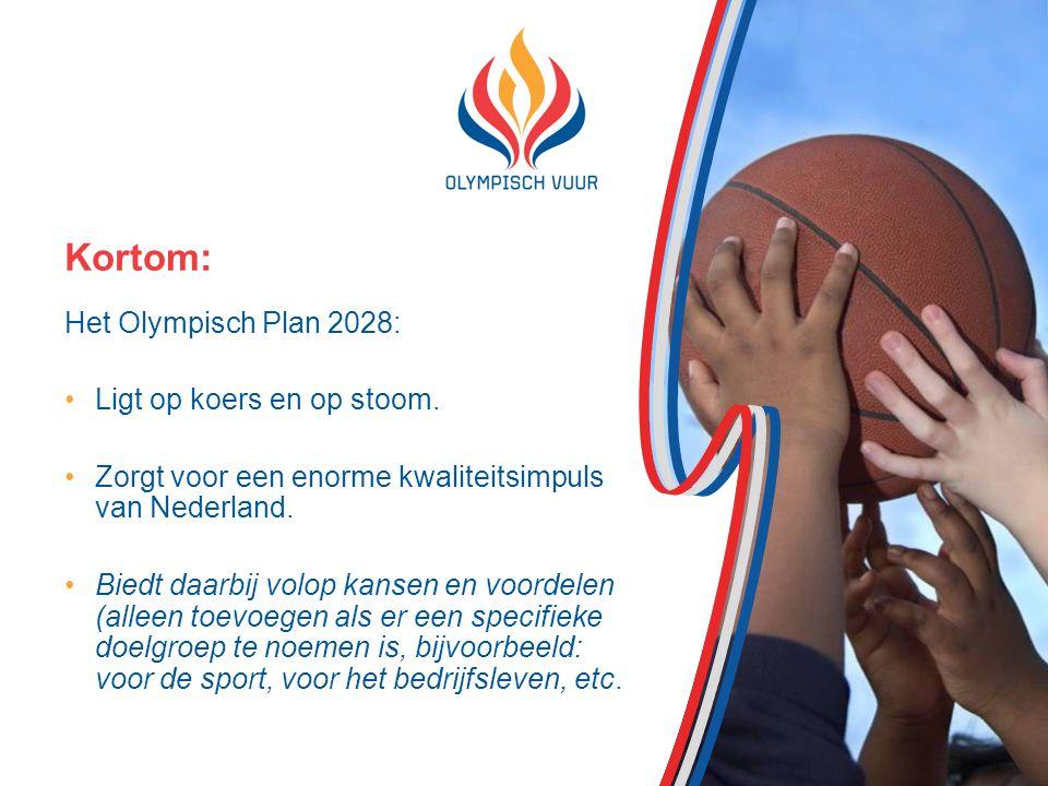 Kortom: Het Olympisch Plan 2028: Ligt op koers en op stoom.