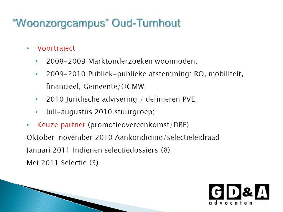 Voortraject 2008-2009 Marktonderzoeken woonnoden; 2009-2010 Publiek-publieke afstemming: RO, mobiliteit, financieel, Gemeente/OCMW; 2010 Juridische ad