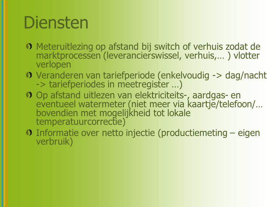 Meteruitlezing op afstand bij switch of verhuis zodat de marktprocessen (leverancierswissel, verhuis,… ) vlotter verlopen Veranderen van tariefperiode (enkelvoudig -> dag/nacht -> tariefperiodes in meetregister …) Op afstand uitlezen van elektriciteits-, aardgas- en eventueel watermeter (niet meer via kaartje/telefoon/… bovendien met mogelijkheid tot lokale temperatuurcorrectie) Informatie over netto injectie (productiemeting – eigen verbruik) Diensten