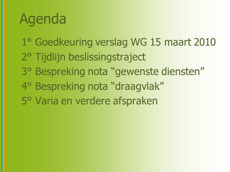 Agenda 1° Goedkeuring verslag WG 15 maart 2010 2° Tijdlijn beslissingstraject 3° Bespreking nota gewenste diensten 4° Bespreking nota draagvlak 5° Varia en verdere afspraken