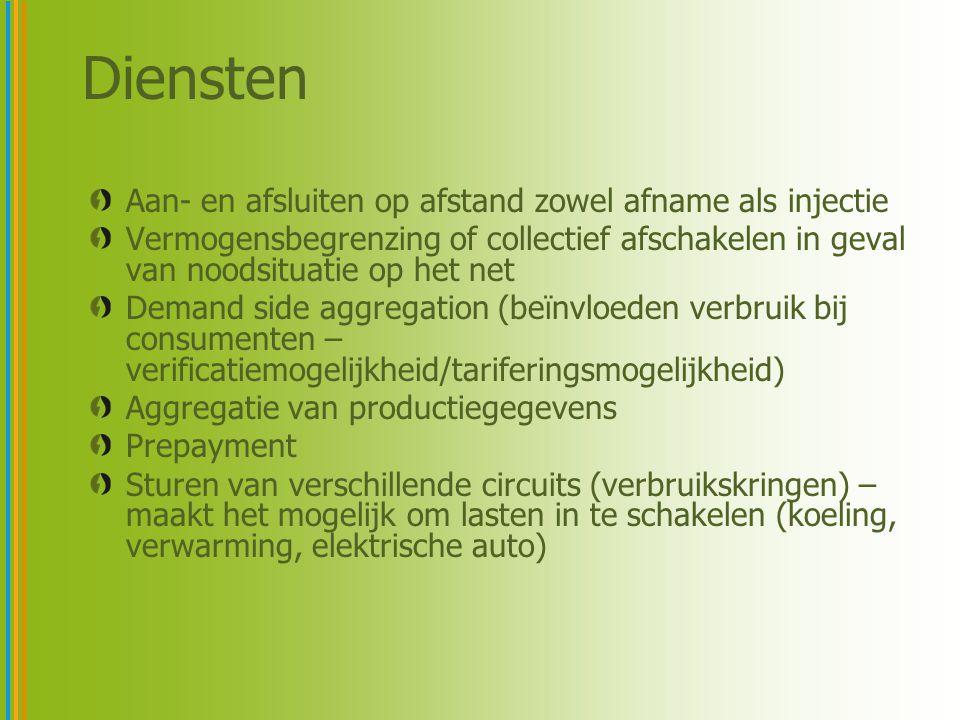 Aan- en afsluiten op afstand zowel afname als injectie Vermogensbegrenzing of collectief afschakelen in geval van noodsituatie op het net Demand side aggregation (beïnvloeden verbruik bij consumenten – verificatiemogelijkheid/tariferingsmogelijkheid) Aggregatie van productiegegevens Prepayment Sturen van verschillende circuits (verbruikskringen) – maakt het mogelijk om lasten in te schakelen (koeling, verwarming, elektrische auto) Diensten