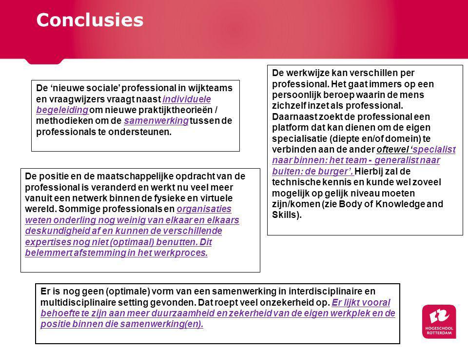 Conclusies De 'nieuwe sociale' professional in wijkteams en vraagwijzers vraagt naast individuele begeleiding om nieuwe praktijktheorieën / methodieken om de samenwerking tussen de professionals te ondersteunen.
