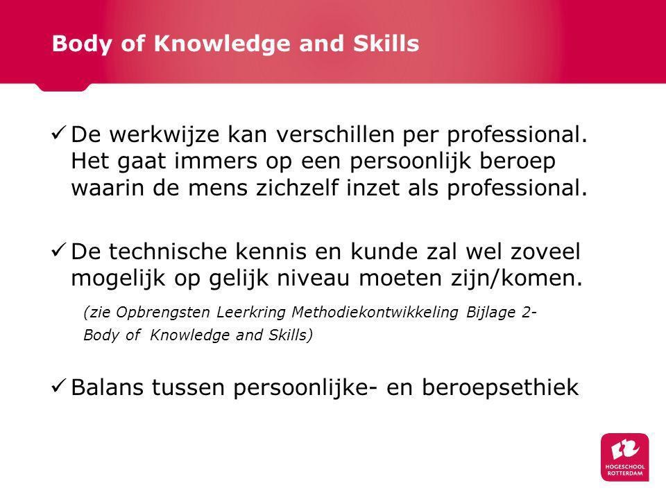 Body of Knowledge and Skills De werkwijze kan verschillen per professional.