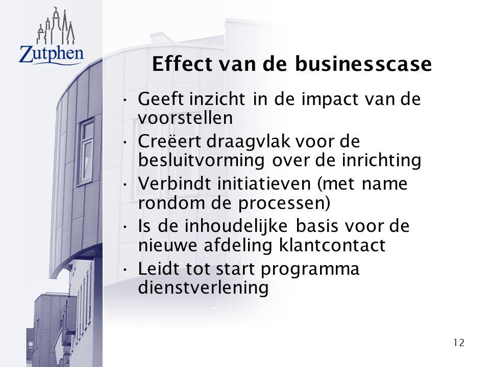 12 Effect van de businesscase Geeft inzicht in de impact van de voorstellen Creëert draagvlak voor de besluitvorming over de inrichting Verbindt initi