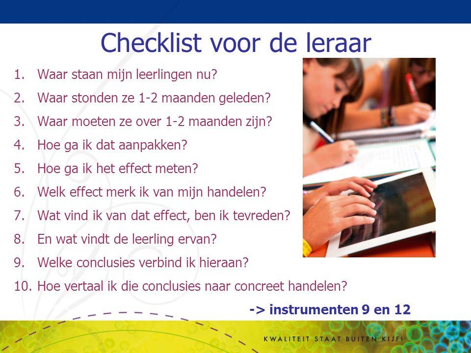 Checklist voor de leraar 1.Waar staan mijn leerlingen nu? 2.Waar stonden ze 1-2 maanden geleden? 3.Waar moeten ze over 1-2 maanden zijn? 4.Hoe ga ik d