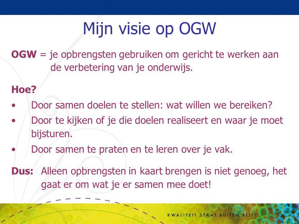 Mijn visie op OGW OGW = je opbrengsten gebruiken om gericht te werken aan de verbetering van je onderwijs. Hoe? Door samen doelen te stellen: wat will