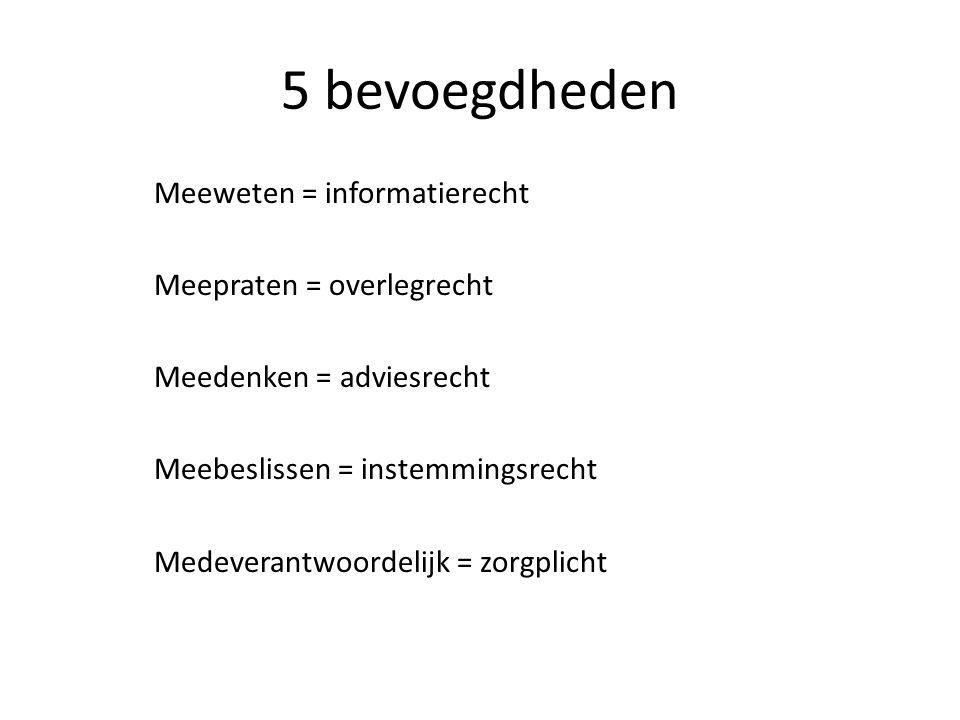 5 bevoegdheden Meeweten = informatierecht Meepraten = overlegrecht Meedenken = adviesrecht Meebeslissen = instemmingsrecht Medeverantwoordelijk = zorg