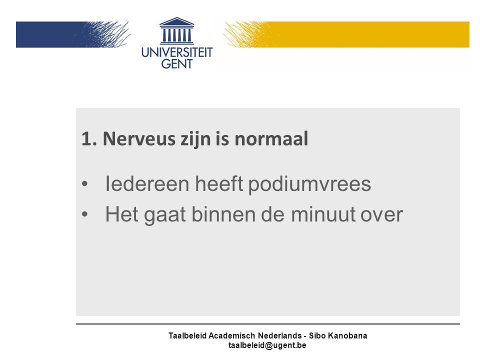 1. Nerveus zijn is normaal Iedereen heeft podiumvrees Het gaat binnen de minuut over Taalbeleid Academisch Nederlands - Sibo Kanobana taalbeleid@ugent