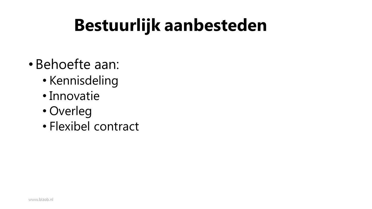 Bestuurlijk aanbesteden Behoefte aan: Kennisdeling Innovatie Overleg Flexibel contract www.bizob.nl