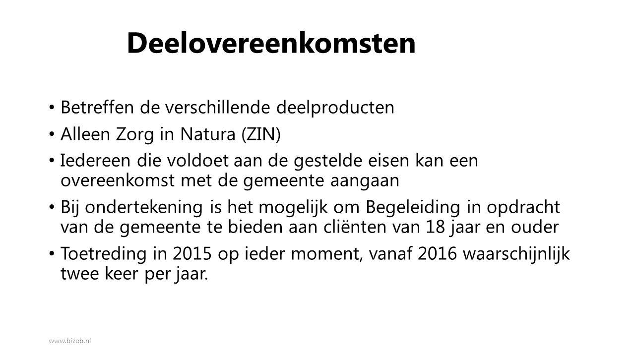 Deelovereenkomsten Betreffen de verschillende deelproducten Alleen Zorg in Natura (ZIN) Iedereen die voldoet aan de gestelde eisen kan een overeenkoms