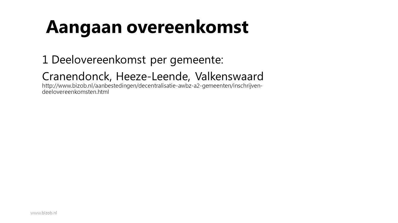 Aangaan overeenkomst 1 Deelovereenkomst per gemeente: Cranendonck, Heeze-Leende, Valkenswaard http://www.bizob.nl/aanbestedingen/decentralisatie-awbz-