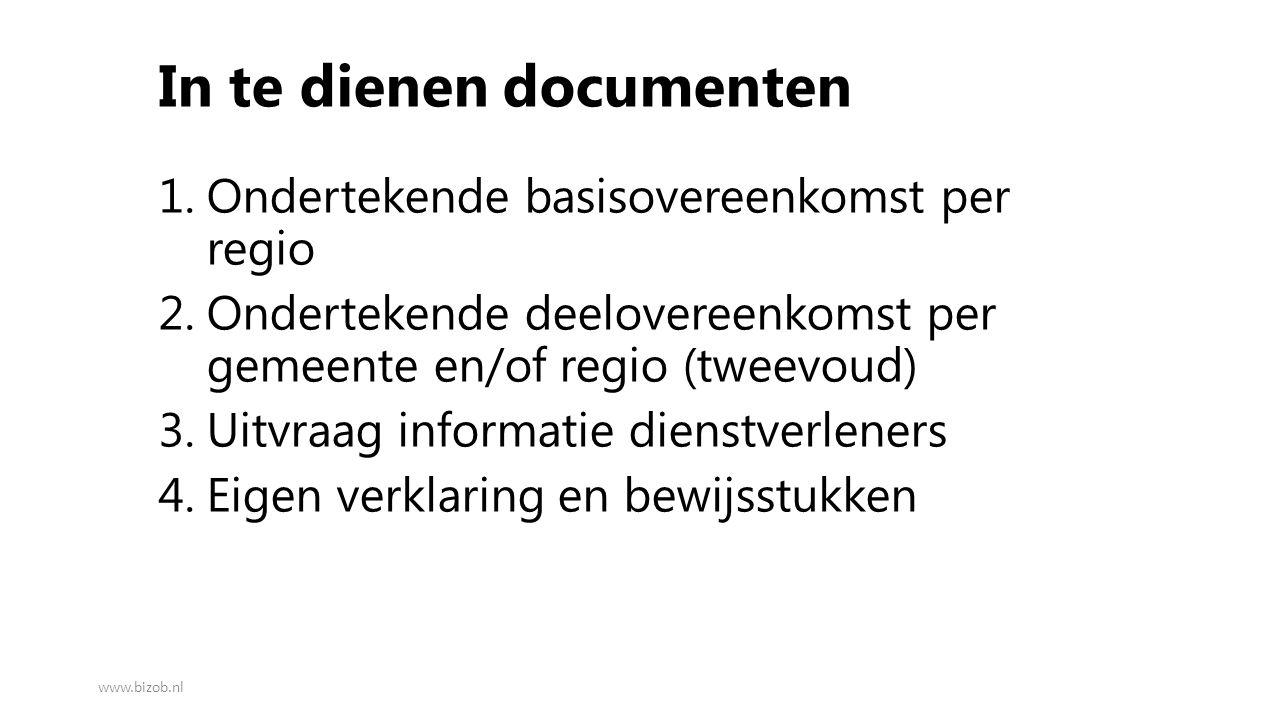 In te dienen documenten 1.Ondertekende basisovereenkomst per regio 2.Ondertekende deelovereenkomst per gemeente en/of regio (tweevoud) 3.Uitvraag info