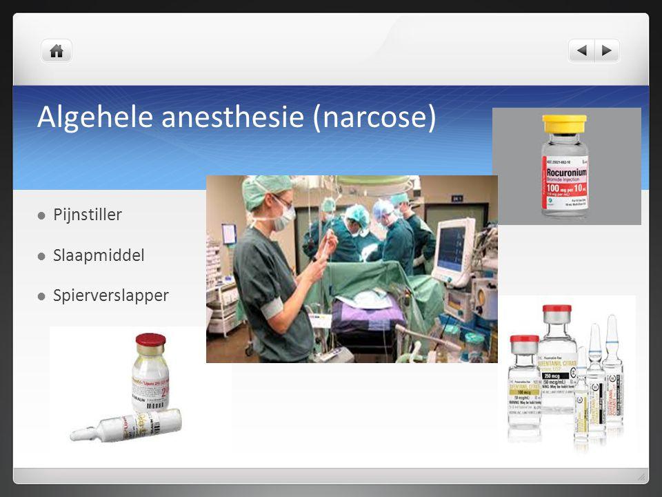 Algehele anesthesie (narcose) Pijnstiller Slaapmiddel Spierverslapper
