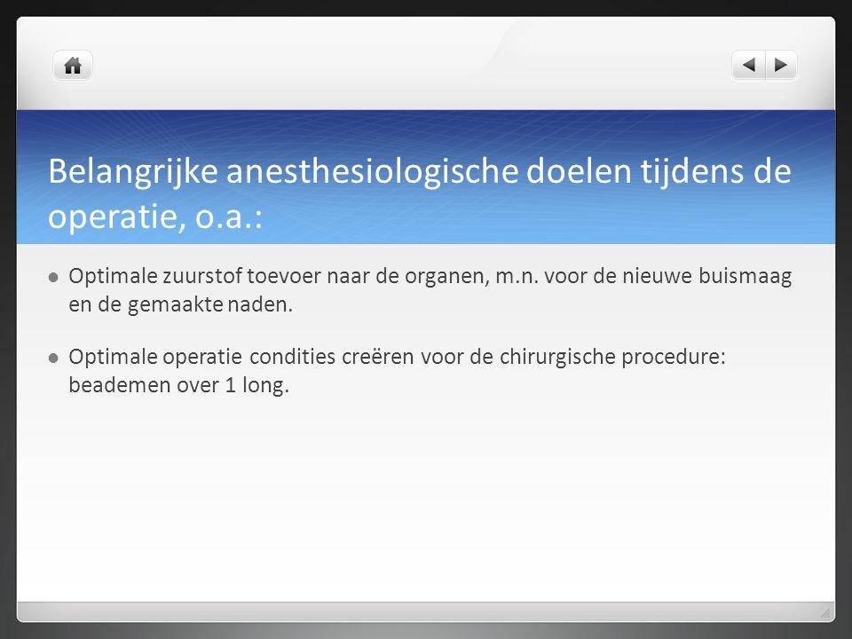 Belangrijke anesthesiologische doelen tijdens de operatie, o.a.: Optimale zuurstof toevoer naar de organen, m.n. voor de nieuwe buismaag en de gemaakt