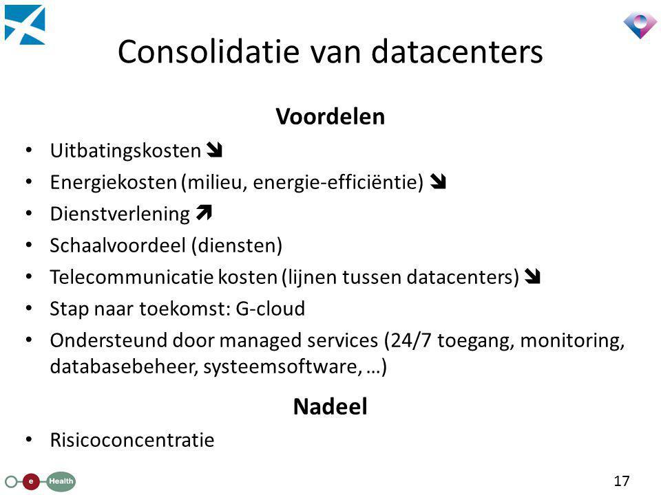 Consolidatie van datacenters Voordelen Uitbatingskosten  Energiekosten (milieu, energie-efficiëntie)  Dienstverlening  Schaalvoordeel (diensten) Te