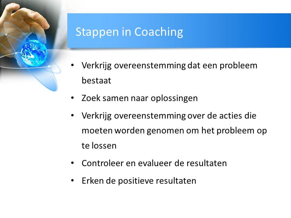 Stappen in Coaching Verkrijg overeenstemming dat een probleem bestaat Zoek samen naar oplossingen Verkrijg overeenstemming over de acties die moeten w