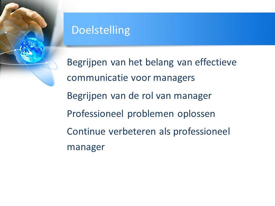 Doelstelling Begrijpen van het belang van effectieve communicatie voor managers Begrijpen van de rol van manager Professioneel problemen oplossen Cont