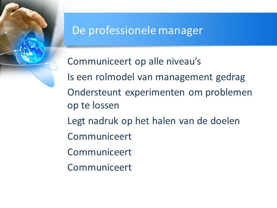 De professionele manager Communiceert op alle niveau's Is een rolmodel van management gedrag Ondersteunt experimenten om problemen op te lossen Legt n