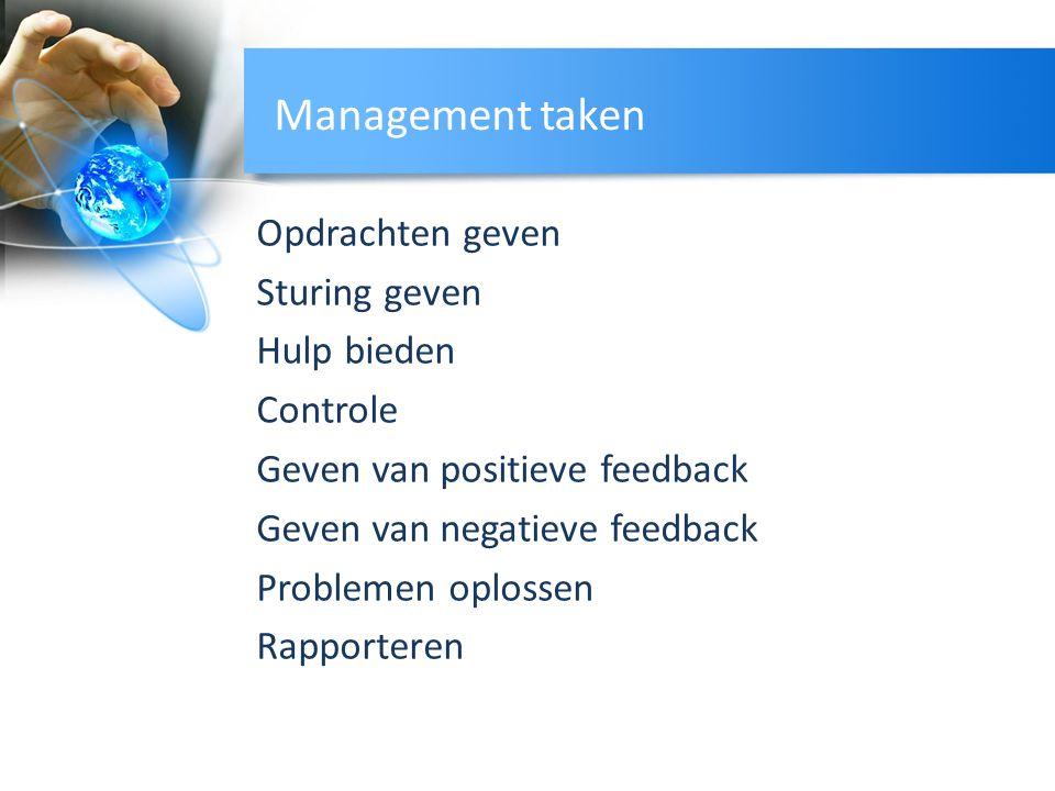 Management taken Opdrachten geven Sturing geven Hulp bieden Controle Geven van positieve feedback Geven van negatieve feedback Problemen oplossen Rapp