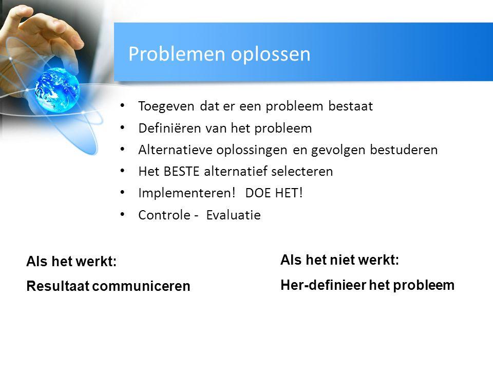 Problemen oplossen Toegeven dat er een probleem bestaat Definiëren van het probleem Alternatieve oplossingen en gevolgen bestuderen Het BESTE alternat
