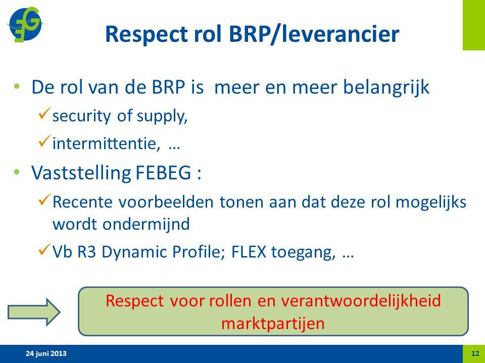 Respect rol BRP/leverancier De rol van de BRP is meer en meer belangrijk security of supply, intermittentie, … Vaststelling FEBEG : Recente voorbeelden tonen aan dat deze rol mogelijks wordt ondermijnd Vb R3 Dynamic Profile; FLEX toegang, … 24 juni 201312 Respect voor rollen en verantwoordelijkheid marktpartijen