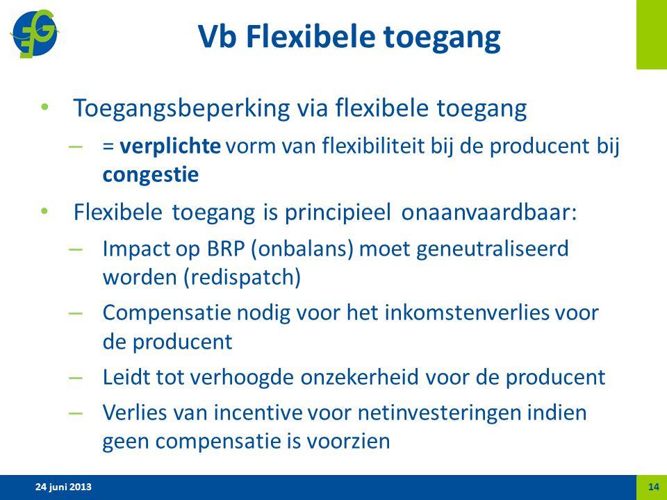 Vb Flexibele toegang Toegangsbeperking via flexibele toegang – = verplichte vorm van flexibiliteit bij de producent bij congestie Flexibele toegang is principieel onaanvaardbaar: – Impact op BRP (onbalans) moet geneutraliseerd worden (redispatch) – Compensatie nodig voor het inkomstenverlies voor de producent – Leidt tot verhoogde onzekerheid voor de producent – Verlies van incentive voor netinvesteringen indien geen compensatie is voorzien 24 juni 201314