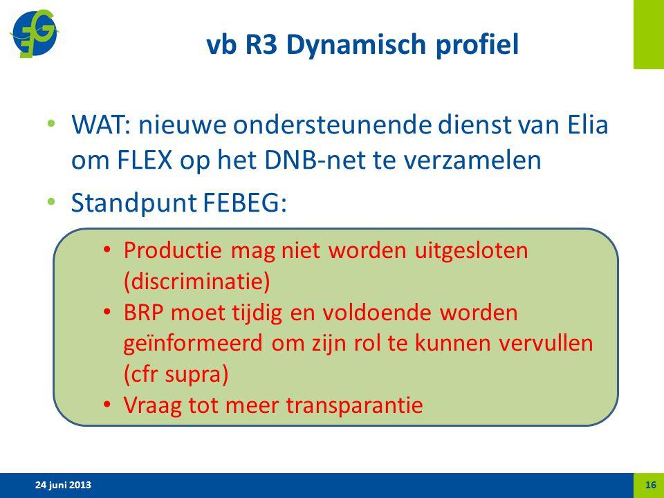 vb R3 Dynamisch profiel WAT: nieuwe ondersteunende dienst van Elia om FLEX op het DNB-net te verzamelen Standpunt FEBEG: 24 juni 201316 Productie mag niet worden uitgesloten (discriminatie) BRP moet tijdig en voldoende worden geïnformeerd om zijn rol te kunnen vervullen (cfr supra) Vraag tot meer transparantie