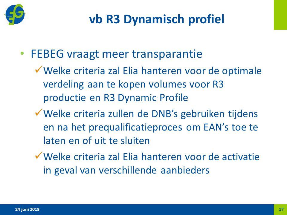 vb R3 Dynamisch profiel FEBEG vraagt meer transparantie Welke criteria zal Elia hanteren voor de optimale verdeling aan te kopen volumes voor R3 productie en R3 Dynamic Profile Welke criteria zullen de DNB's gebruiken tijdens en na het prequalificatieproces om EAN's toe te laten en of uit te sluiten Welke criteria zal Elia hanteren voor de activatie in geval van verschillende aanbieders 24 juni 201317