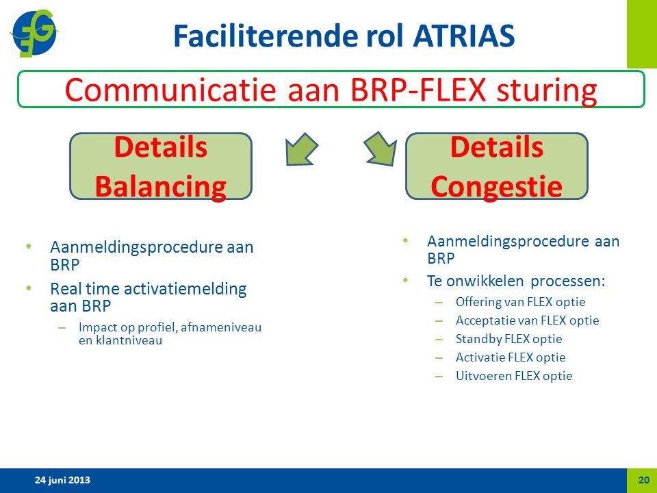 Faciliterende rol ATRIAS Aanmeldingsprocedure aan BRP Real time activatiemelding aan BRP – Impact op profiel, afnameniveau en klantniveau Aanmeldingsprocedure aan BRP Te onwikkelen processen: – Offering van FLEX optie – Acceptatie van FLEX optie – Standby FLEX optie – Activatie FLEX optie – Uitvoeren FLEX optie 24 juni 201320 Details Balancing Details Congestie Communicatie aan BRP-FLEX sturing