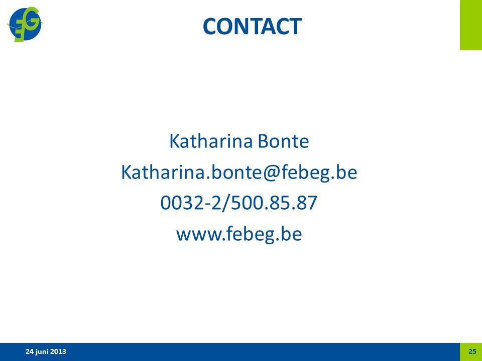 CONTACT Katharina Bonte Katharina.bonte@febeg.be 0032-2/500.85.87 www.febeg.be 24 juni 201325