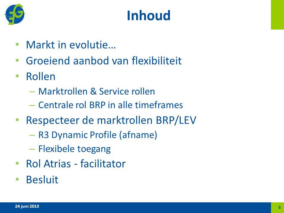 Inhoud Markt in evolutie… Groeiend aanbod van flexibiliteit Rollen – Marktrollen & Service rollen – Centrale rol BRP in alle timeframes Respecteer de marktrollen BRP/LEV – R3 Dynamic Profile (afname) – Flexibele toegang Rol Atrias - facilitator Besluit 24 juni 2013 3