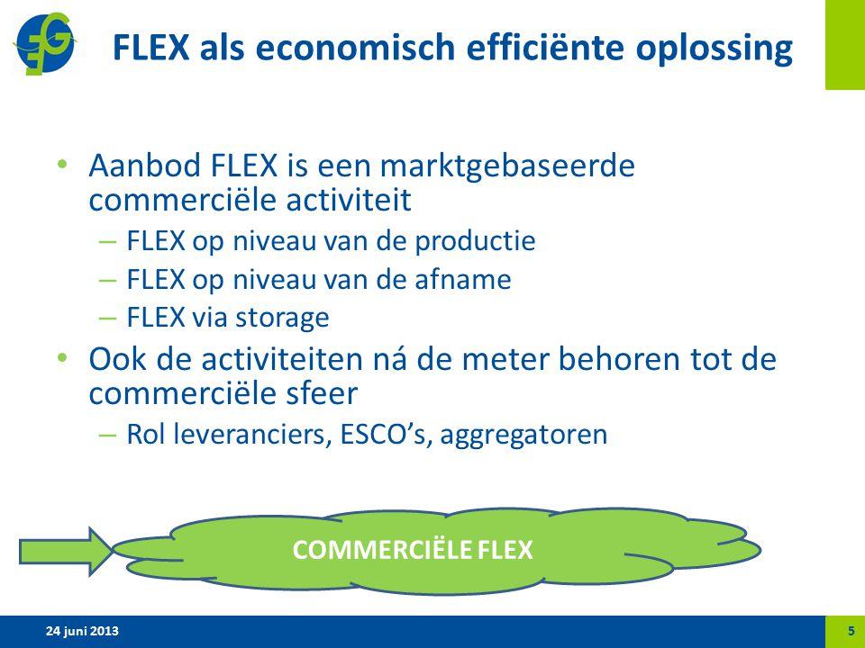 FLEX als economisch efficiënte oplossing Aanbod FLEX is een marktgebaseerde commerciële activiteit – FLEX op niveau van de productie – FLEX op niveau van de afname – FLEX via storage Ook de activiteiten ná de meter behoren tot de commerciële sfeer – Rol leveranciers, ESCO's, aggregatoren 24 juni 20135 COMMERCIËLE FLEX