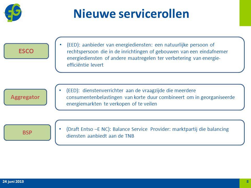 Nieuwe servicerollen 24 juni 20138 Aggregator ESCO (EED): aanbieder van energiediensten: een natuurlijke persoon of rechtspersoon die in de inrichtingen of gebouwen van een eindafnemer energiediensten of andere maatregelen ter verbetering van energie- efficiëntie levert (EED): dienstenverrichter aan de vraagzijde die meerdere consumentenbelastingen van korte duur combineert om in georganiseerde energiemarkten te verkopen of te veilen BSP (Draft Entso –E NC): Balance Service Provider: marktpartij die balancing diensten aanbiedt aan de TNB