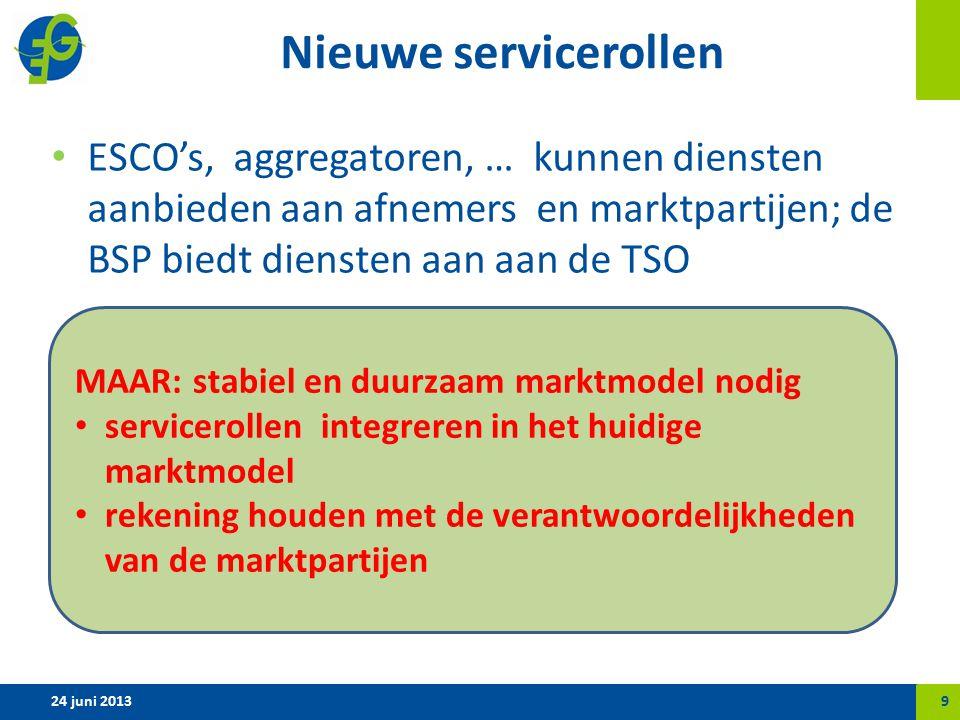 Nieuwe servicerollen ESCO's, aggregatoren, … kunnen diensten aanbieden aan afnemers en marktpartijen; de BSP biedt diensten aan aan de TSO 24 juni 20139 MAAR: stabiel en duurzaam marktmodel nodig servicerollen integreren in het huidige marktmodel rekening houden met de verantwoordelijkheden van de marktpartijen