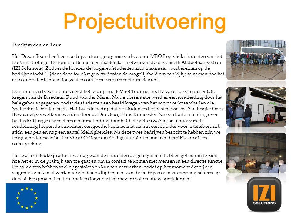 Projectuitvoering Drechtsteden on Tour Het DreamTeam heeft een bedrijven tour georganiseerd voor de MBO Logistiek studenten van het Da Vinci College.
