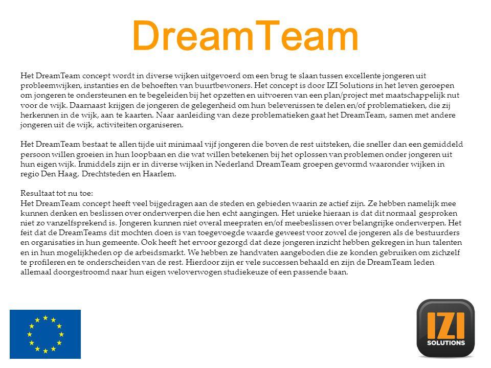 DreamTeam Drechtsteden Het DreamTeam Drechtsteden bestaat uit vijf jongeren die boven de rest uitsteken, die sneller dan een gemiddeld persoon willen groeien in hun loopbaan en die wat willen betekenen bij het oplossen van problemen onder jongeren uit hun eigen wijk.