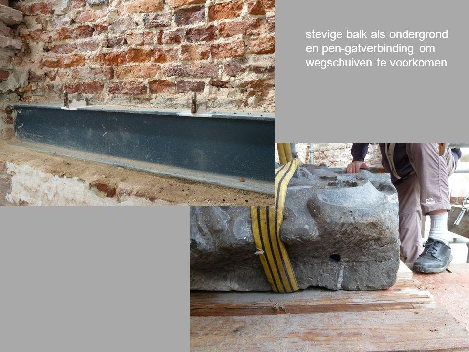 stevige balk als ondergrond en pen-gatverbinding om wegschuiven te voorkomen