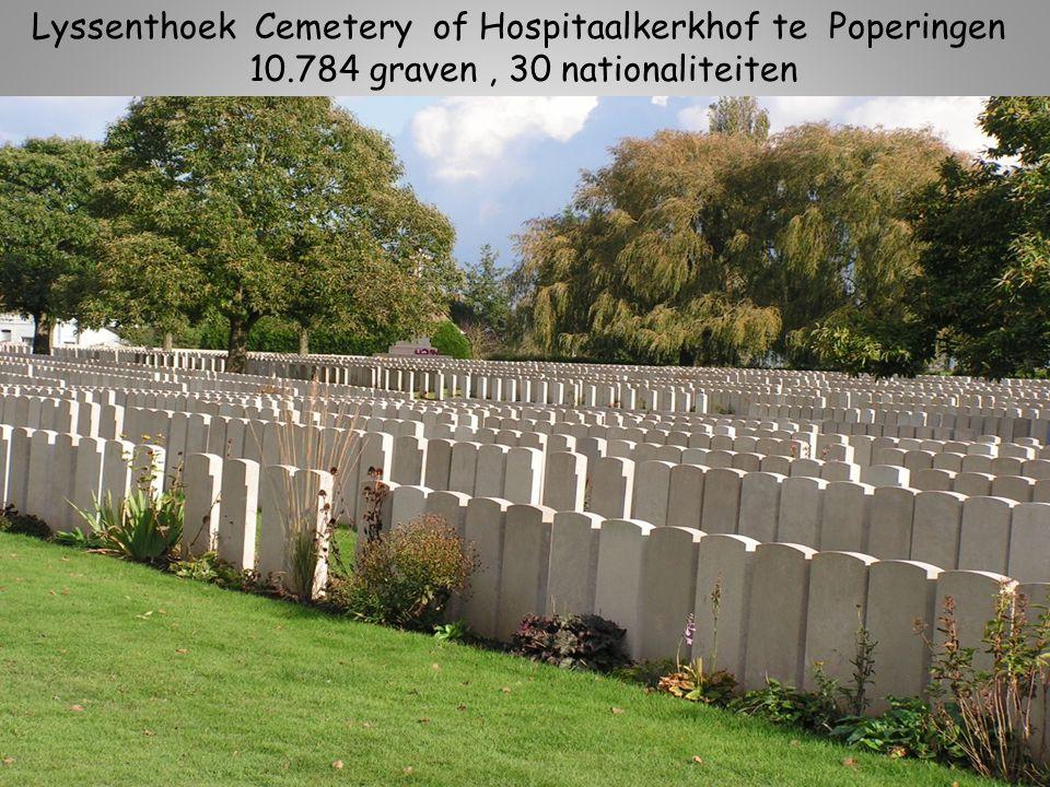Lyssenthoek Cemetery of Hospitaalkerkhof te Poperingen 10.784 graven, 30 nationaliteiten, waarvan ook Chinezen